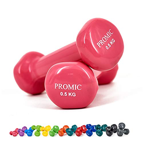 Promic 0,5kg–10kg pesas de mano deluxe, sólido, con revestimiento de vinilo, mancuernas con agarre antideslizante, para ejercicios de fitness, juego de 2, rosa