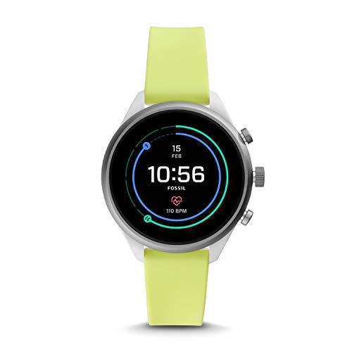 Fossil Sport - Smartwatch da donna, cinturino in silicone giallo neon - FTW6028