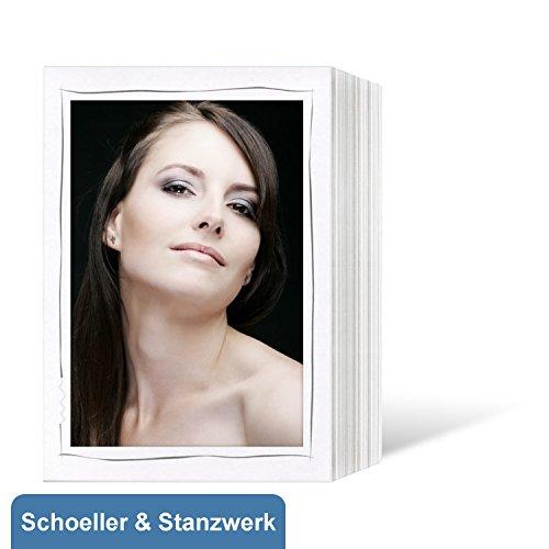 100 Stück Endlosleporellos für 13x18 cm Fotos Hochformat - weiß matt mit grauem Tuscherand - Schoeller & Stanzwerk