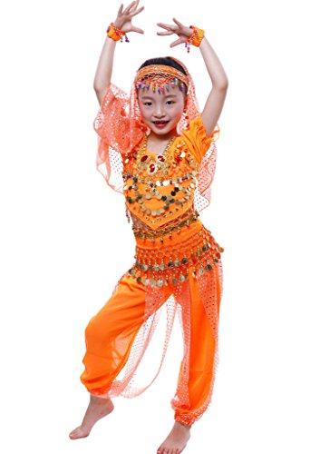 Astage Mädchen Short Sleeve Bauchtanz Kostüm Set Alle Ornamente Orange (Alle Orange Kostüm)