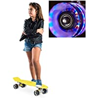 relaxdays Skateboard LED f. Kinder, 22 Zoll Mini Cruiser m. Leuchtrollen, ABEC 7 Alu-Trucks m. Gummi Wheels, mehrfarbig