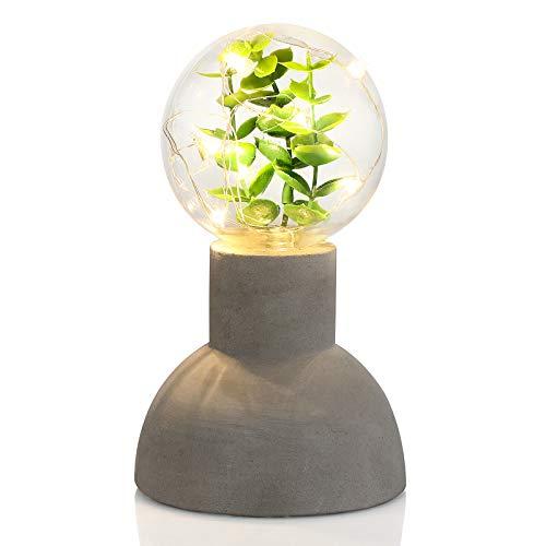 SONGMICS Nachtlicht, Stimmungslicht, mit Betonsockel, innen mit dekorativer Lichtkette, künstlichen Pflanzen, im Industriedesign, batteriebetrieben, für Schlafzimmer, Wohnzimmer, grau, FSL21GY