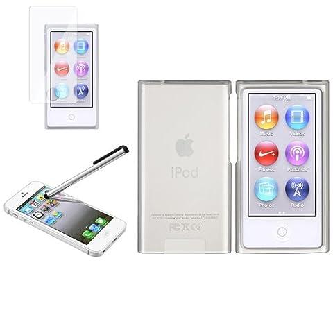 Transparent Blanc Souple Housse Coque+Film+Stylet Pour iPod Nano 7 7th 7G