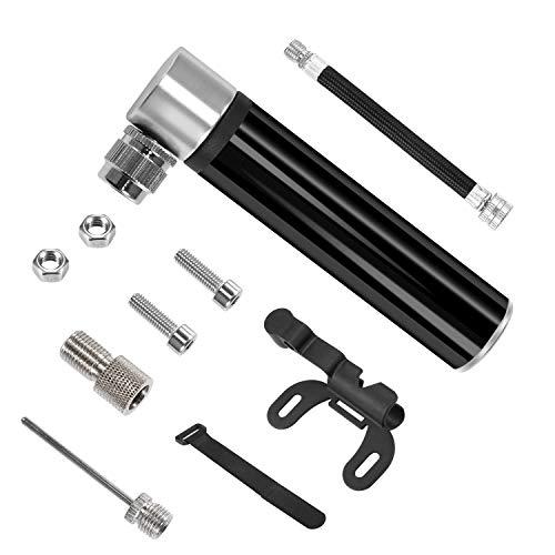 CamGO Mini Fahrradpumpe Tragbar Luftpumpe Aluminium geeignet für alle Räder für alle Fahrradreifen, Reifen, mit Nadel für Basketball/Fußball