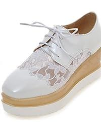 NJX/ 2016 Zapatos de mujer - Tacón Plano - Comfort - Oxfords - Exterior / Casual / Deporte - Semicuero - Negro / Blanco , black-us7.5 / eu38 / uk5.5 / cn38 , black-us7.5 / eu38 / uk5.5 / cn38