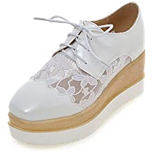 ZQ Zapatos de mujer-Plataforma-Creepers / Punta Cuadrada-Oxfords-Vestido / Casual-Semicuero-Blanco , white-us8 / eu39 / uk6 / cn39 , white-us8 / eu39 / uk6 / cn39