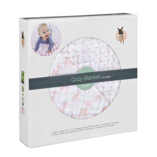 Lässig Cozy Blanket XL (120x120cm) Krabbel- und Spieldecke Schmusedecke aus 100% Musin Baumwolle, ist atmungsaktiv weich kuschelig und flauschig, Sweet Snail girls (Mädchen Lässig)