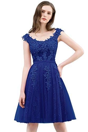 Damen Elegant A-Linie Tüll Abendkleid Ballkleid Perlenstickerei Rückenfrei Knielang Royal Blau 36