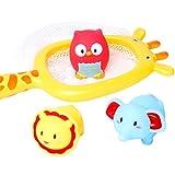 YeahiBaby Badespielzeug Angeln mit Schwimmende Wasserspritzte Tiere Spielzeug Giraffe Fischernetz für Wasserspiel Badespaßzeit 4 Stück