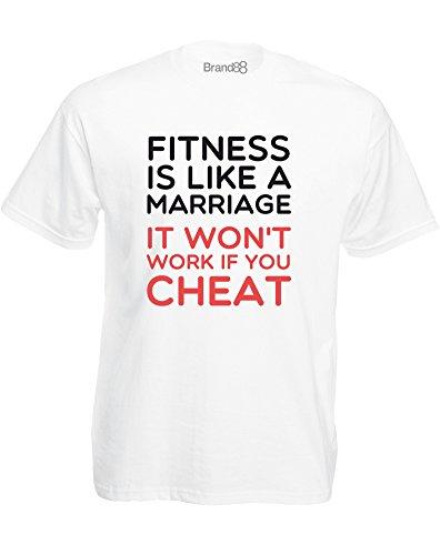 Brand88 - Fitness Is Like A Marriage, Mann Gedruckt T-Shirt Weiß/Schwarz/Rote