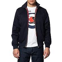Merc of London Harrington,Jacket Blouson, Bleu (Marine), Large (Taille Fabricant: L) Homme
