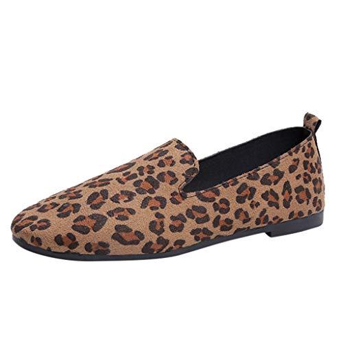 Damen Bequeme Weiche Runde Kappe Flache Slip on Fashion Loafer Schuhe, Selou Casual Leopard Flacher Mund Einzelnen Schuhe Frauen Sommer Business Elegant Hohe Outdoor Art Breite FüßE Sport Sneakers - Gabbana Leopard