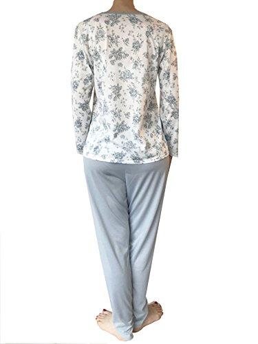 Lady Bella - Pigiama Donna Cotone 100% a Manica Lunga e Pantalone, scollo Serafino, Motivo Floreale Stampato ed Eleganti Inserti in Pizzo sulla Maglia Verde Acqua