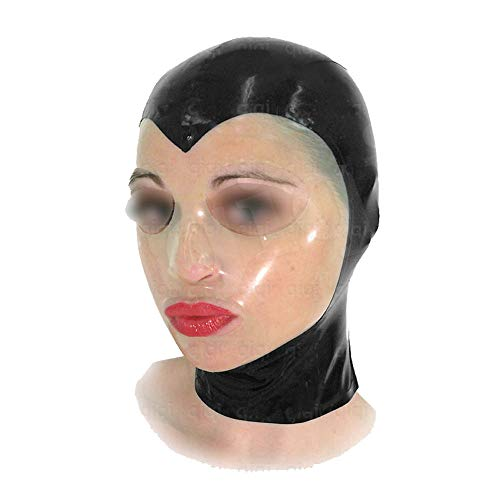 Transparent Face Sexy Black Latex Hood Mask Fetish Latex (XXS ()