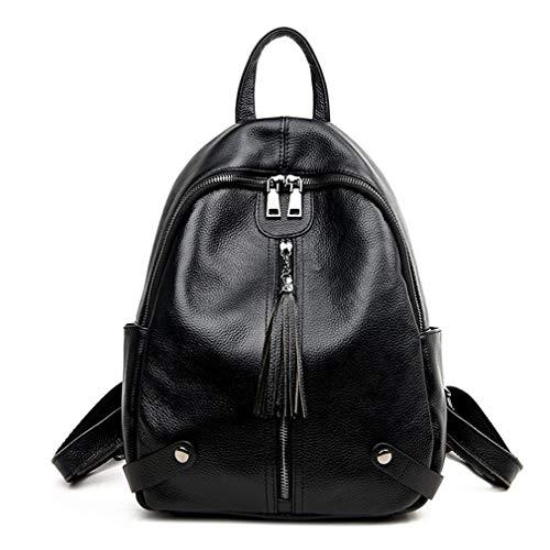 Mädchen Quaste Umhängetasche Reisetaschen Black 28x14x34cm -