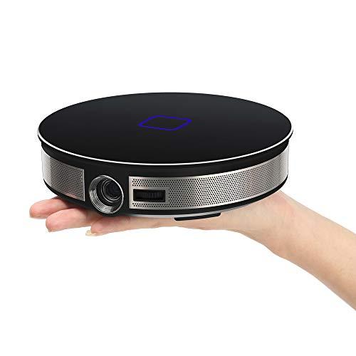 RK3368 Beamer Tragbar Projektor Aktualisierte 3500 Lumen LED 20000 Stunden Heimkino Unterstützt Full HD Unterstützt 1080P TV Box IOS Android Handybeamer Mehrweg 12000mAh (Schwarz) (40in 1080p)