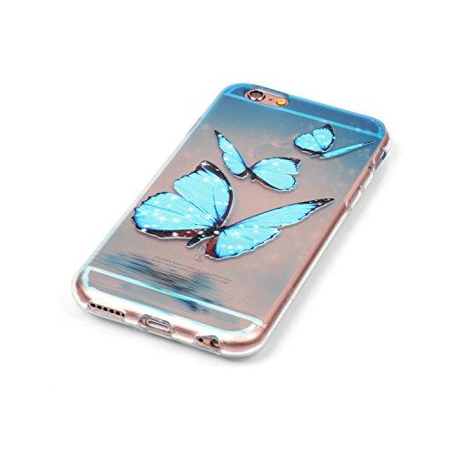 Gel Handyhülle Cover für iPhone 6/6S,CLTPY [Kratzfeste] [Stoßfest] Transparent Klar Malerei Muster Design TPU Bumper Etui Case für iPhone 6/6S,Ultra Dünn Super Leicht [Perfekt Passen] Soft Silikon Sch Drei Blaue Schmetterlinge