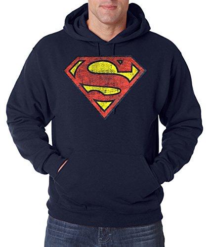 Youth designz felpa uomo con cappuccio felpa con cappuccio modello Vintage Superman, In molti colori. Colori blu navy XL