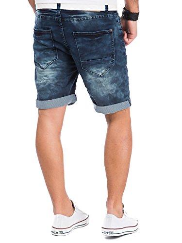 Urban Surface Jogg Jeans Shorts kurze Hose Bermuda Herren Denim Sweatpants Joggjeans Vintage Used Look Dark Blue - H-2KI32