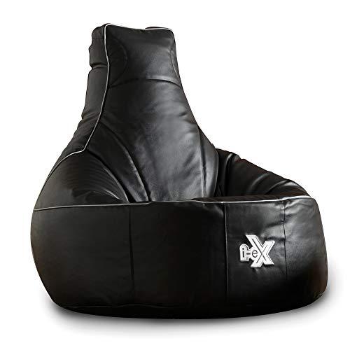 i-eX® - Sillón para Juegos y GRATIS Reposapiés - Piel Sintética, Color gris y negro