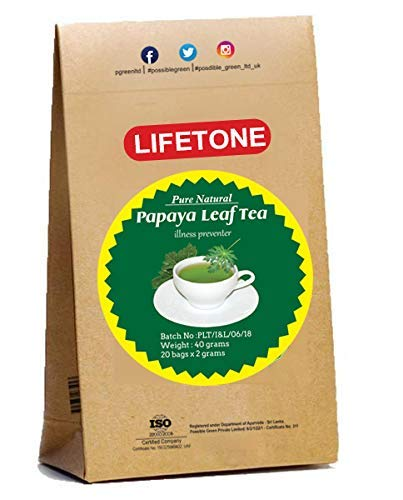 da vida al té para una vida mejor, Papaya Leaf Tea | Suplemento herbario 100% natural | 20 bolsitas de té | Delicioso té de hoja verde | Té de desintoxicación natural | Té diabético