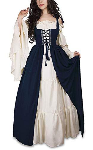 IWFREE Damen Vintage Retro Mittelalter Kleid Irland Kleidung Cosplay Kostüm Langarm Trompetenärmel Prinzessin Gothic Gericht Lange Abendkleid für Weihnachts Karneval Party Festlich Cocktail ()