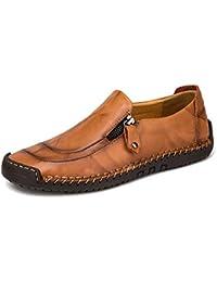 a1db91b8c66 Mocasín de Cuero para Hombre Zapatos cómodos y Ligeros de Punta Redonda  Pisos Mocasines Antideslizantes Zapatos
