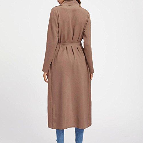 Manadlian Manteau Femmes Manche Longue Applique Longue Outwear Blousons Rouge