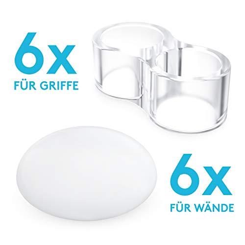WOHLIFA 12 Stück Türstopper Set   Türpuffer für Wand und Türklinke   Bumper selbstklebend   Wandschoner und Puffer zum Kleben   weiß und transparent   40 mm Durchmesser