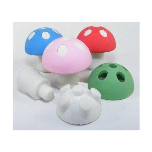 Pilz japanischen Radiergummis. Verschiedene Farben. Packung mit 4 Stück