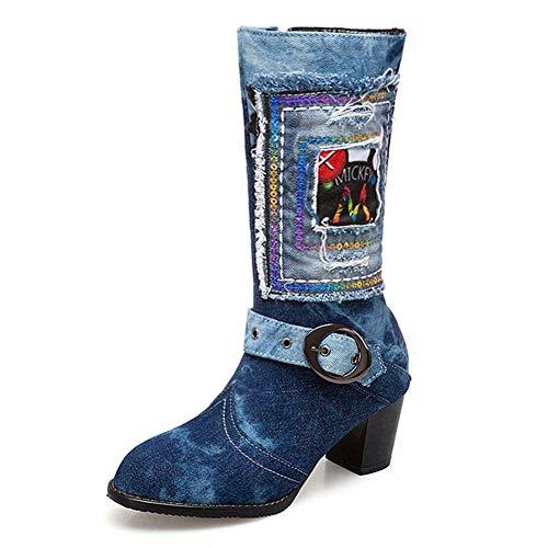 Damen Mode Denim Mid Calf Westernstiefel Schnalle Runde Kappe Zipper Chunky Block Heel Stiefel