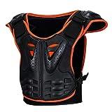 IPOTCH Giacca Bambini Protettore per Motocross, BMX, Equitazione, Sci e Snowboard - Nero + Arancione, S