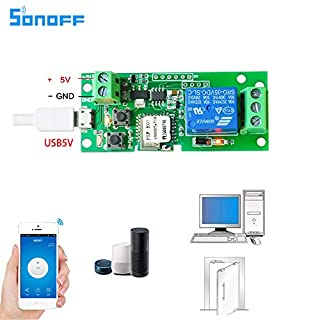 sonoff DC5V 12v 24v 32v wifi switch wireless Relay module Smart home Automation for access control systemr Inching/Self-Locking(1CH DC5V/5V)