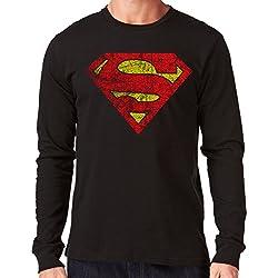 35mm - Camiseta Hombre Manga Larga - Superman - Long Sleeve Man Shirt, NEGRA, XL