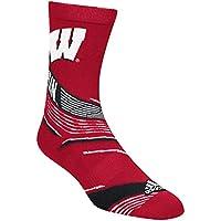 """Wisconsin Badgers Adidas NCAA """"Fan Gear"""" Jacquard Pattern Men's Socks"""