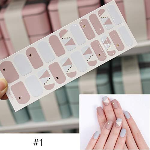 LIUSHUGUANG Full Wraps Nail Sticker Cover gemischte Muster schwarz blau Selbstklebende Nägel Transfer Decals Slider Nail Art Design Dekoration,#1 (Blaue Edelsteine Flache Rückseite)