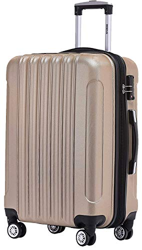 BEIBYE TSA Schloß 2050 Hartschale Trolley Koffer Reisekoffer in M-L-XL-Set (Champagner, 76 cm)