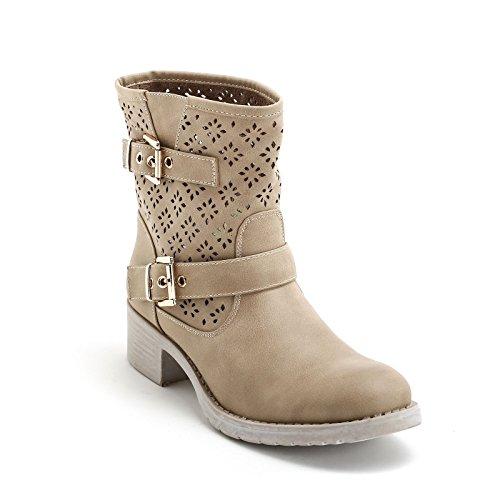 Prendimi by scarpe&scarpe - stivaletti bassi con doppia fibbia e laserature, con tacco 4 cm - 39,0, beige