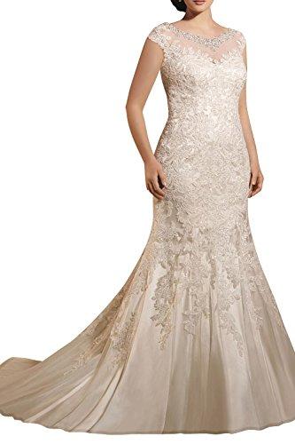 382b5428abb La mia Brau Spitze Etuikleider Langes Hochzeitskleider Brautkleider  Brautmode Figurbetont Meerjungfrau Damen Mode -46 Elfenbein