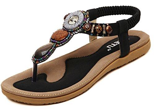 Fortuning's JDS 2016 Nouveaux arrivée bohême flip-flop chaussures pour femmes sandales plates Noir