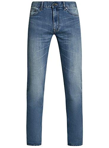 oodji Ultra Herren Jeans Basic mit Normalem Bund Blau (7400W)