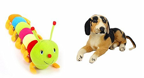MGP Creation Plushed Sitting Dog (32 Cm) And Colourful Caterpillar (55 Cm)Combo