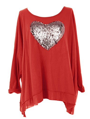 TEXTUREONLINE -  Maglia a manica lunga  - Basic - Donna Red