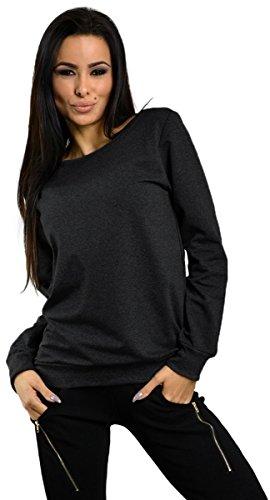 Capri Moda - Femme Pull Molletonné Sweat-shirt Manches Longues Col Rond - 8168 Graphite Mélange