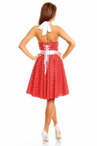 Neckholder Rockabilly Kleid 50er Jahre mit Pünktchen, ROT - 2