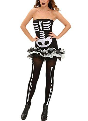 Toocool - Costume vestito carnevale donna SCHELETRO sexy ossa Burlesque Halloween DL-1841