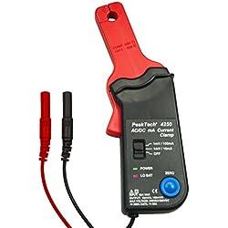 PeakTech Pinza amperimétrica como adaptador hasta 60A AC/DC para multímetro–10mA/MV o 100mA/MV conmutable–Apto hasta max. 20kHz, 1pieza, P 4250