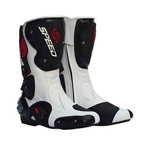 Speed-racing-schuh (US-Größe 7-11 Männer Motorrad-Boots Pro Bike Speed Racing Lederstiefel Schuhe schwarz weiß)