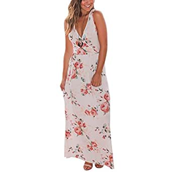 Tonsee Femmes V Neck Boho Long Maxi soirée Beach Party Robe florale Sundress (S, Blanc)