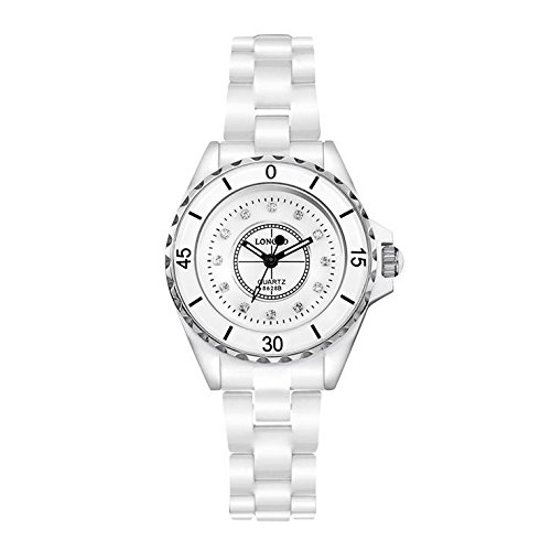 Damen Mode weiße Keramik Uhren Damenuhren , Silver